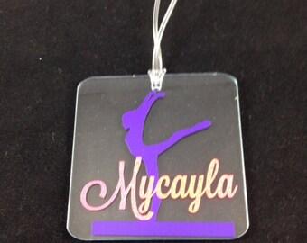 Square Gymnastics Clear Acrylic Keychain/Luggage Tag