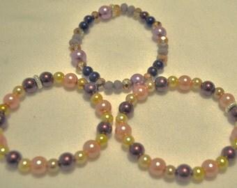 3 Lavender Glass Beaded Bracelets