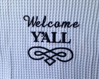 Welcome Y'all Waffle Weave Hand Towel