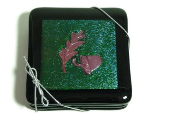 Fused Glass Coasters Black & Green Iridescent with inlaid hand embossed copper acorn and leaf (set of 4)