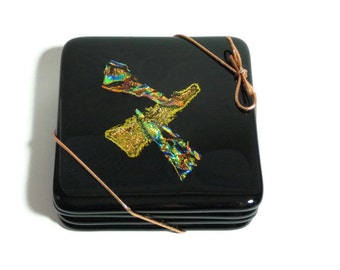 Fused Glass Black & Dichroic Coasters (set of 4)