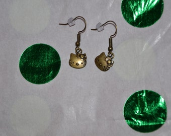 Kitten Bronzetone Drop Earrings