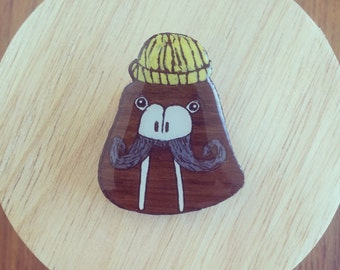Walrus with yellow beanie wooden brooch