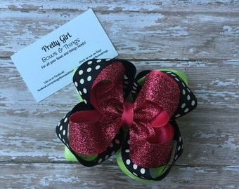 Green black pink glitter and polka dot stacked hairbow bow-princess stacked bow-birthday stacked bow-birthday princess stacked bow