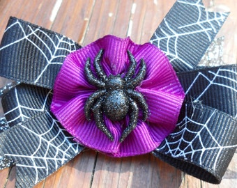 Purple and Black Spider Halloween Hair Bow