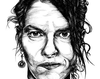 A3 Giclée Print of a Hand-drawn portrait of Tracey Emin