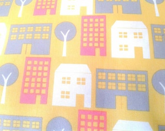 SALE clearance Kids Fabric, Organic Cotton, Pretty City, Yellow, Urban Buildings and Trees, Quilting Cotton, Children, By the Yard