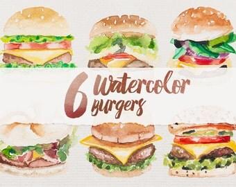 6 Watercolor Burgers