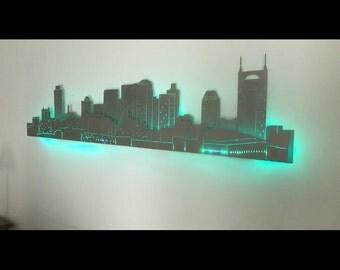 Lighted Nashville Skyline... dual layer... backlit...laser cut steel... 4 ft long