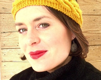 Mustard-yellow wool headband