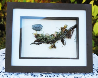 Nesting bird...pebble art
