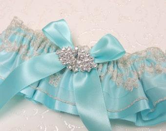 Aqua Wedding Garter,  Elegant Aqua Wedding Garter,  Garter