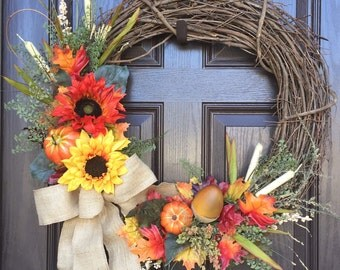 Fall Wreath, Grapevine, Autumn Wreath, Pumpkin, Burlap Bow