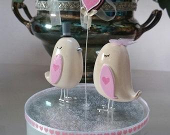 Love Bird Wedding Cake Topper - Baby Pink Theme