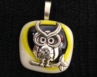 Fused Glass Hooty Owl Pendant