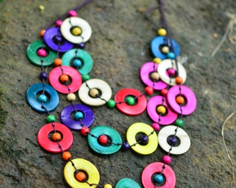 Colorful Necklace Hand Crafted of Coconut Shell Beads