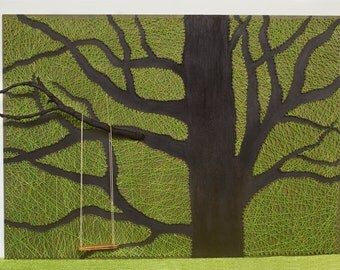 String art tree, wall hanging, strings and nails art, tree with swing, natural string art