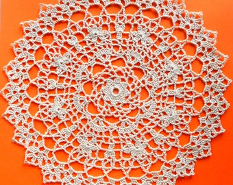 10 inch Doily, Crochet Lace Ecru Doily, Lacy Centerpiece, Crochet Tablecloth, Housewarming Gift, Vintage Interior, Rustic Home Decor, Doiliy