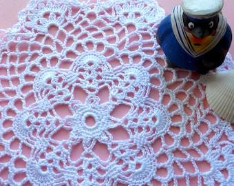 8 inch Doily, Lace Table Decoration, Handmade Lace Doily, White Tablecloth, Lace White Cotton Crocheted Coaster, Rustic Table Decor, White