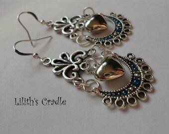 Handmade Earrings Heart Filigree Blue Moon Goddess Witch Magick Love