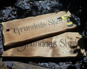 Grandad's Shed,  Dad's workshop, personalised wooden sign, hand painted designs, perfect Birthday or Christmas gift for Dad or Grandad.