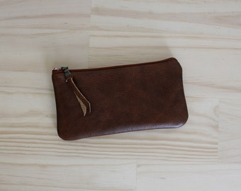 Leather Zipper Pouch. Phone case. Leather Gadget Case. Phone Wallet.