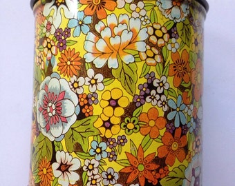 Vintage psychedelic print tin canister
