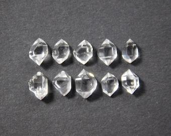 10 4-6mm Water Clear Herkimer Diamond Mini Quartz Crystals