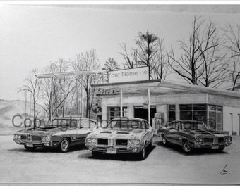 70-71-72 Oldsmobile 442 Customized Pencil Drawing Print