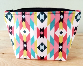 Makeup Bag, southwest print, zipper bag