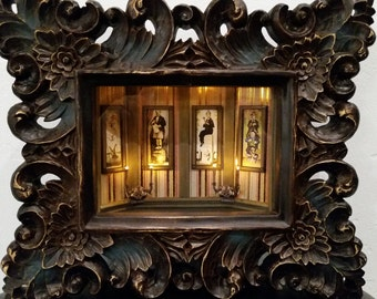Stretching Portraits - LIGHTED - Haunted Mansion Collection, 3-D, Shadowbox, handcrafted, original,