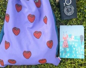 handmade purple strawbery woman drawstring backpack