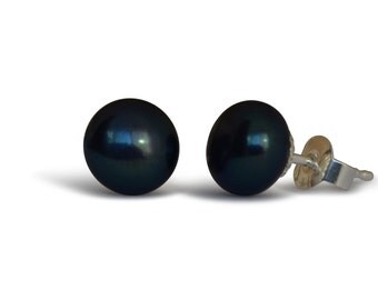 Natural Cultured Freshwater Pearl Stud Earrings, black, silver 8-8.5mm, 925