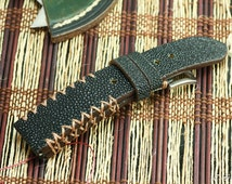 Stingray black polished strap + brown edges + brown tribal stitching #CD0148
