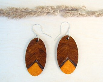 made to order, wooden earrings, long earrings, natural earrings, woodburned earrings, ecologic earrings, oval earrings, pyrography earrings,