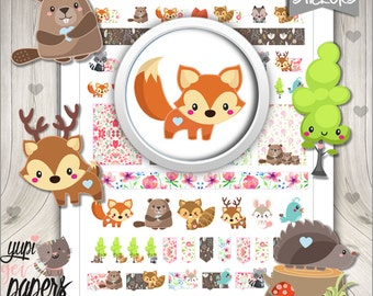 50%OFF - Woodland Stickers, Planner Stickers, Forest Animal Stickers, Fox Stickers, Woodland Creatures, Printable Stickers
