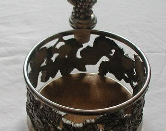 Silver Plate Wine Bottle Holder With Cork Grapevine Design