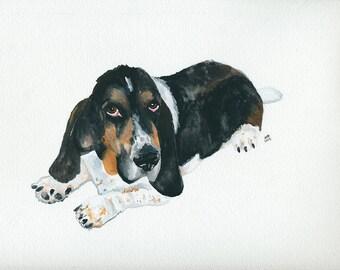 Lloyd the Basset Hound Watercolor Art Print