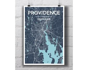 Providence, Rhode Island - City Map Print