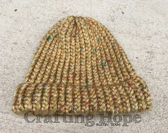 Chunky Knitted Tweed Beanie / Hat - MEDIUM - Yellow / Teal / Orange / White