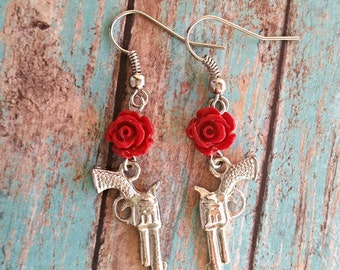 Guns and roses earrings, rose earrings, gun earrings, red rose earrings