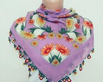 Handmade Turkish Yemeni Scarf / Birthday Gift For Mom / Morher's Day Gift / Handmade Cotton Scarf/ Fashion Woman Accessorries/ Crochet Scarf