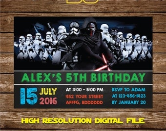 Star Wars Invitation Star Wars Birthday Invitation - Star Wars Birthday Party Invite Galaxy wars Birthday Party - FREE card THANK YOU | M58