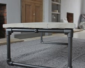 Casey White Washed Reclaimed Scaffolding Boards Coffee Table with Dark Steel Pipe Frame - Bespoke Urban Furniture by www.urbangrain.co.uk