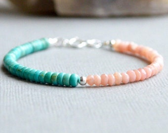 Peruvian Pink Opal and Turquoise Bracelet Boho Chic Stacking Bracelet Gemstone Bracelet Everyday Jewelry Turquoise and Peach Sterling Silver