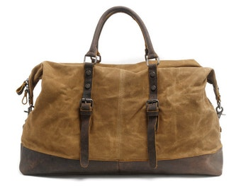 Leather Canvas Duffel Bag (Khaki)