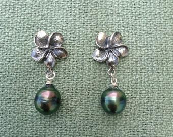 Tahitian Black Pearl Plumeria Sterling Silver Earrings, Peacock Pearl