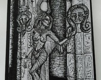 Pen and Ink Illustration, 'Hathor'