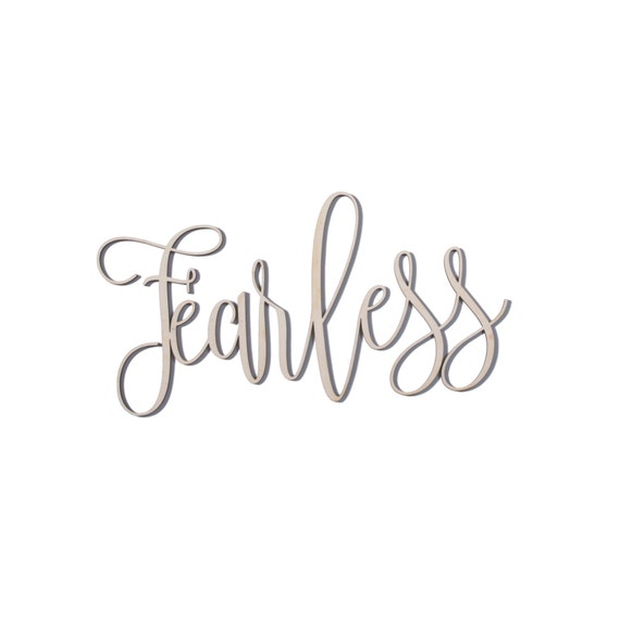 FEARLESS wood wall decor home word baltic birch sign