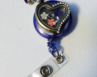 Beautiful Heart Floating Charm Locket Badge Reel, Create your own!